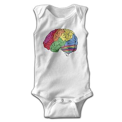 Hizhogqul Rainbow Brain Baby Sleeveless Romper Bodysuit Jumpsuit White