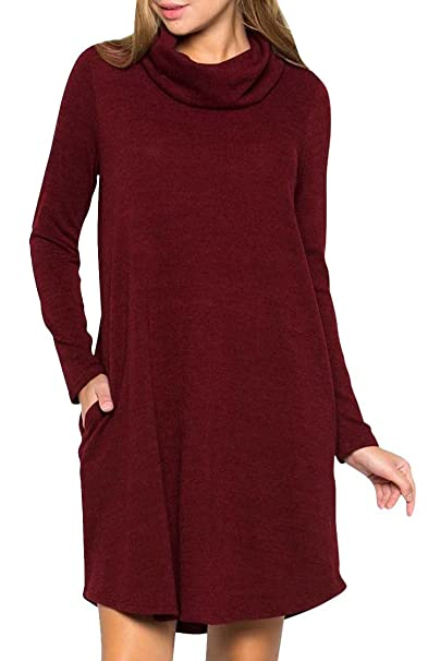 4880a53663f4 Pink Queen Women s Long Sleeve Cowl Neck Patch Casual T Shirt Pocket Dress  S Wine Red