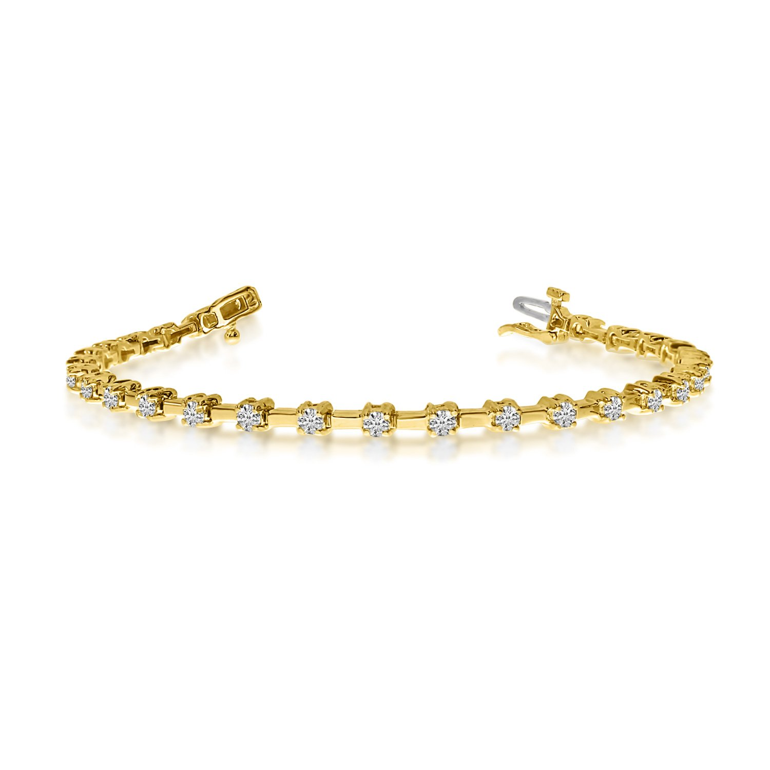 14K Yellow Gold Round Diamond Bar Style Tennis Bracelet (8 Inch Length) by Direct-Jewelry