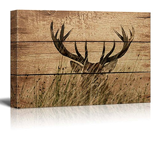 wall26 - Rustic Canvas Wall Art - Elk Antler - Giclee Print Modern Wall Decor | Stretched Gallery Wrap Ready to Hang Home Decoration - 24x36 inches