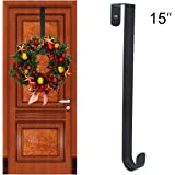 "GameXcel Wreath Hanger Over The Door - Larger Wreath Metal Hook for Christmas Wreath Front Door Hanger 15"" Black"