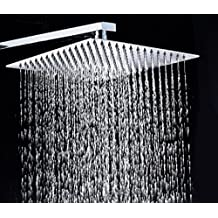 700Brass8 Inch Ultra-thin Shower Head Idea for Luxuary Bathroom Rain Shower Experience, High Quality Stainless Steel SUS304, Polished Finish, Satification Guarantee, Overhead Showerhead with FREE Teflon Thread Tape