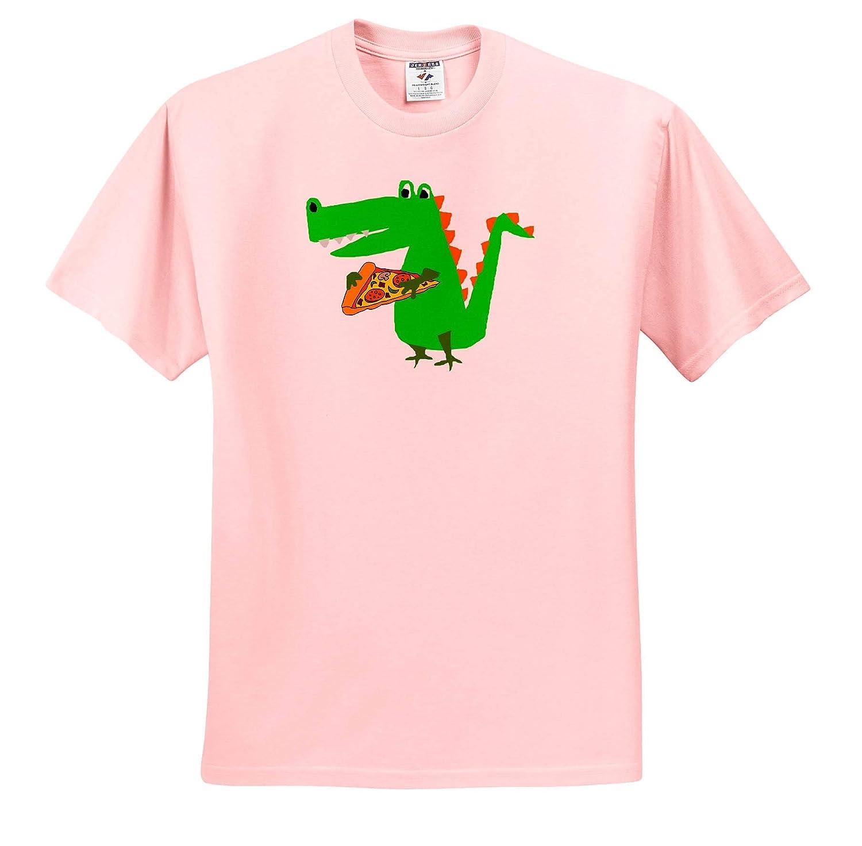 Funny Cute Alligator Eating Pizza Primitive Art Cartoon 3dRose All Smiles Art ts/_309643 Animals Adult T-Shirt XL