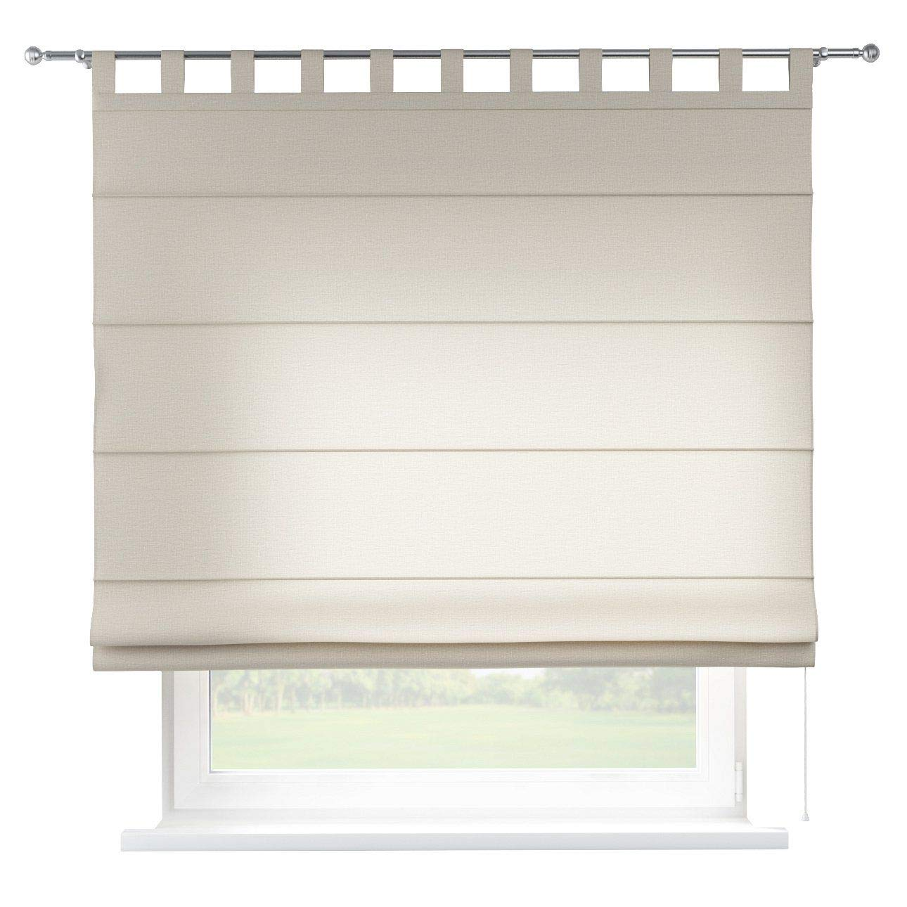 Dekoria Raffrollo Verona ohne Bohren Blickdicht Faltvorhang Raffgardine Wohnzimmer Schlafzimmer Kinderzimmer 160 × 170 cm Natur Raffrollos auf Maß maßanfertigung möglich