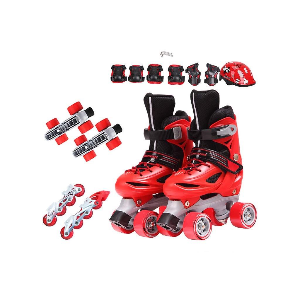 Ailj インラインスケート、 子供用複列スケート 初心者向けフルセット 3-5-6-8-10歳 単列スケート 一石二鳥 フルフラッシュ(3色) (色 : 青, サイズ さいず : XS (26-29 yards)) B07MY2DKYX S (30-33 yards)|Red Red S (30-33 yards)