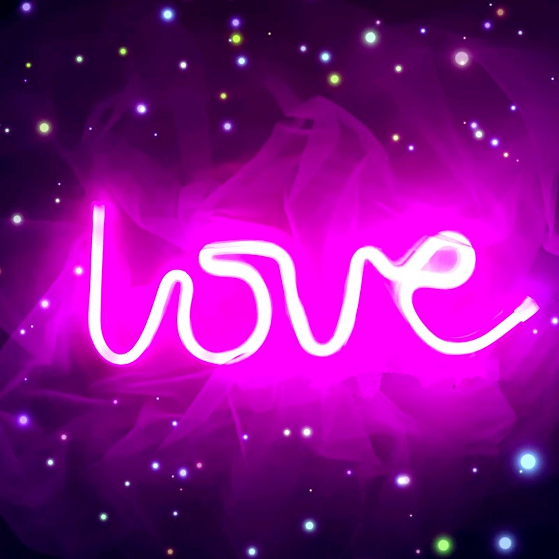 Neon Love Signs Light 13.70'' Large LED Love Art Decorative Marquee Sign - Wall Decor/Table Decor for Wedding Party Kids Room Living Room House Bar Pub Hotel Beach Recreational (Purple Pink)