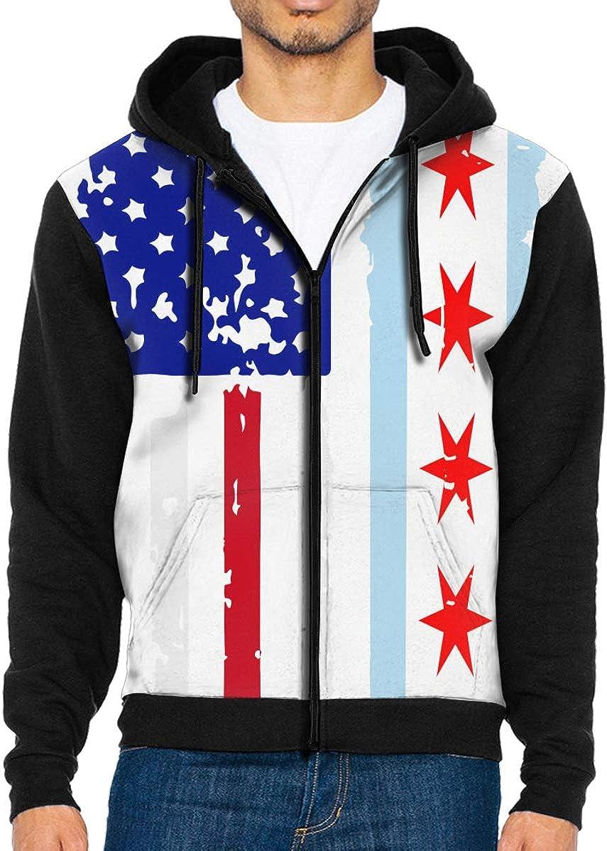 LMKJNGFD Chicago American USA Flag Pride Boys Adult Full Zip Hoodies Sweatshirts Sport Outwear Sweatshirts