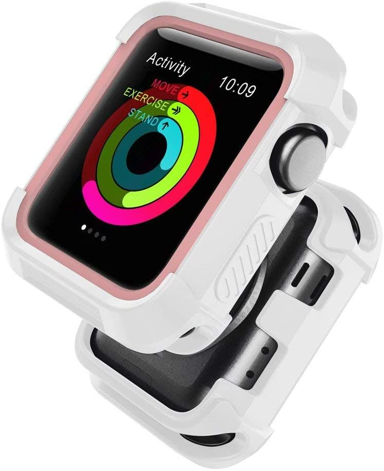 Compatible with iWatch Case 38mm, Shock Proof Bumper Cover Scratch Resistant Protective Rugged Case Replacement for iWatch Series 3, Series 2, Series 1 38mm, White/Pink