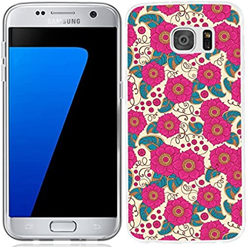 S7 Case,Galaxy S7 Case, ChiChiC [Elegant Series] Full Protective Case Slim Flexible Soft TPU Gel Rubber Cases Cover Skin for Samsung Galaxy S7,pink flower Sales