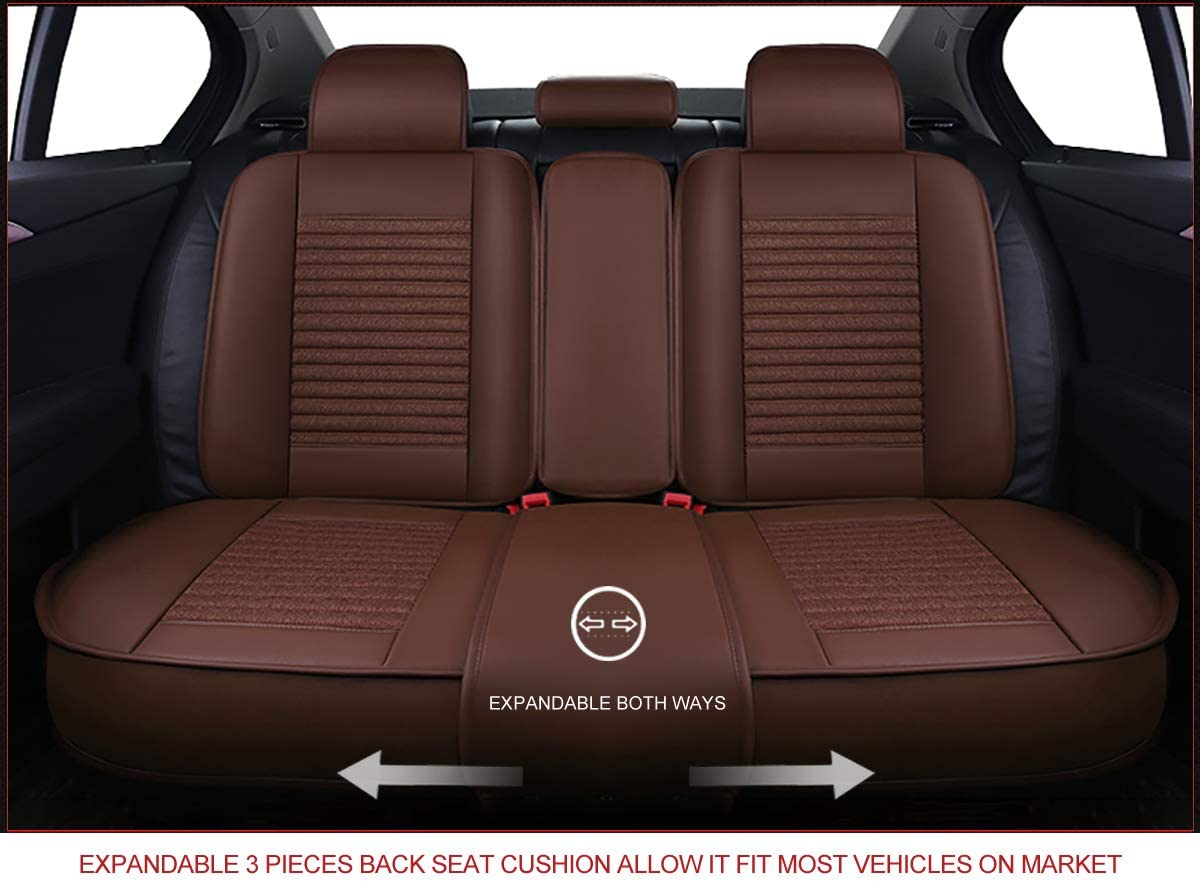 CLOTH BLACK, FULL SET Faux Leatherette Cushion Seat Cover for Cars SUV Small Pick Up Truck Universal Fit Set Compatible with Toyota-Nissan-Honda-Jeep-Subaru OS-005 Leather Car Seat Covers