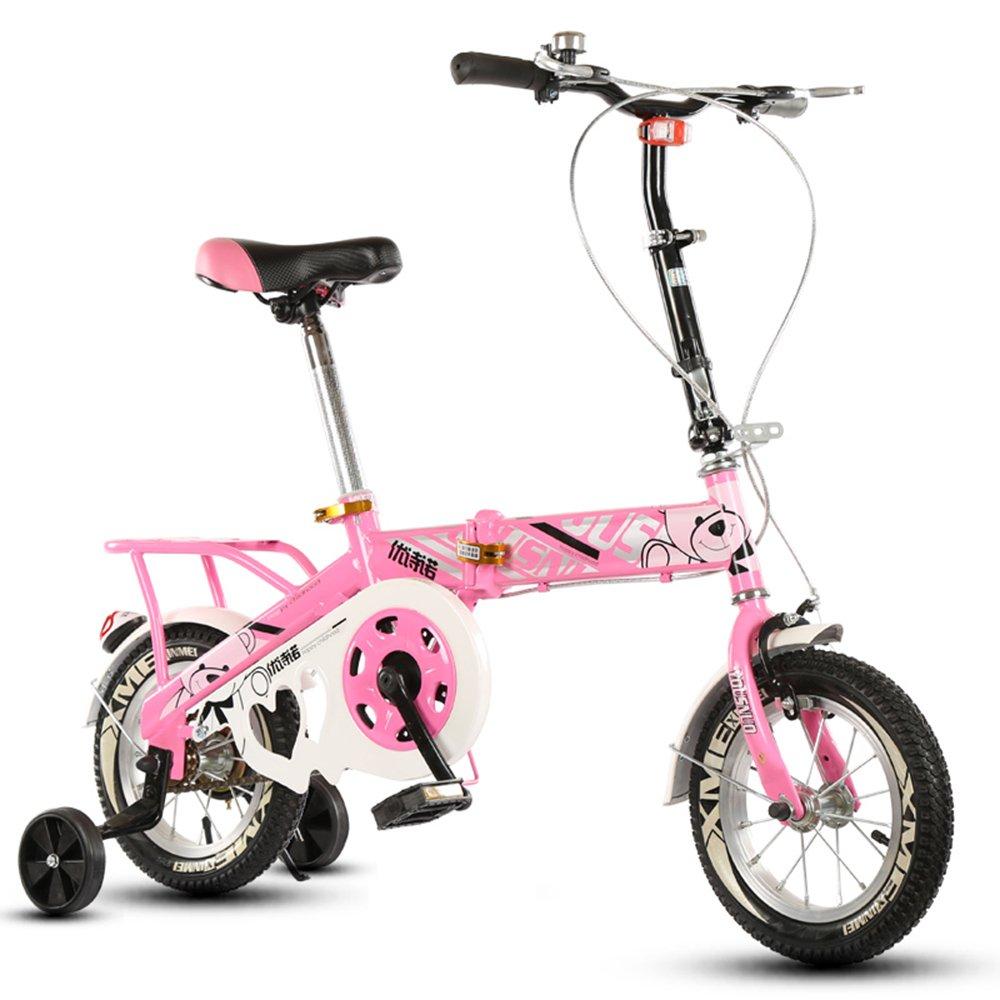 子供の折りたたみ自転車、12-14-16-20インチの男子学生自転車6-8-10-12歳の乳母車 ( 色 : Pink-B , サイズ さいず : 12 inch ) B07CNK5VWZ 12 inch Pink-B Pink-B 12 inch