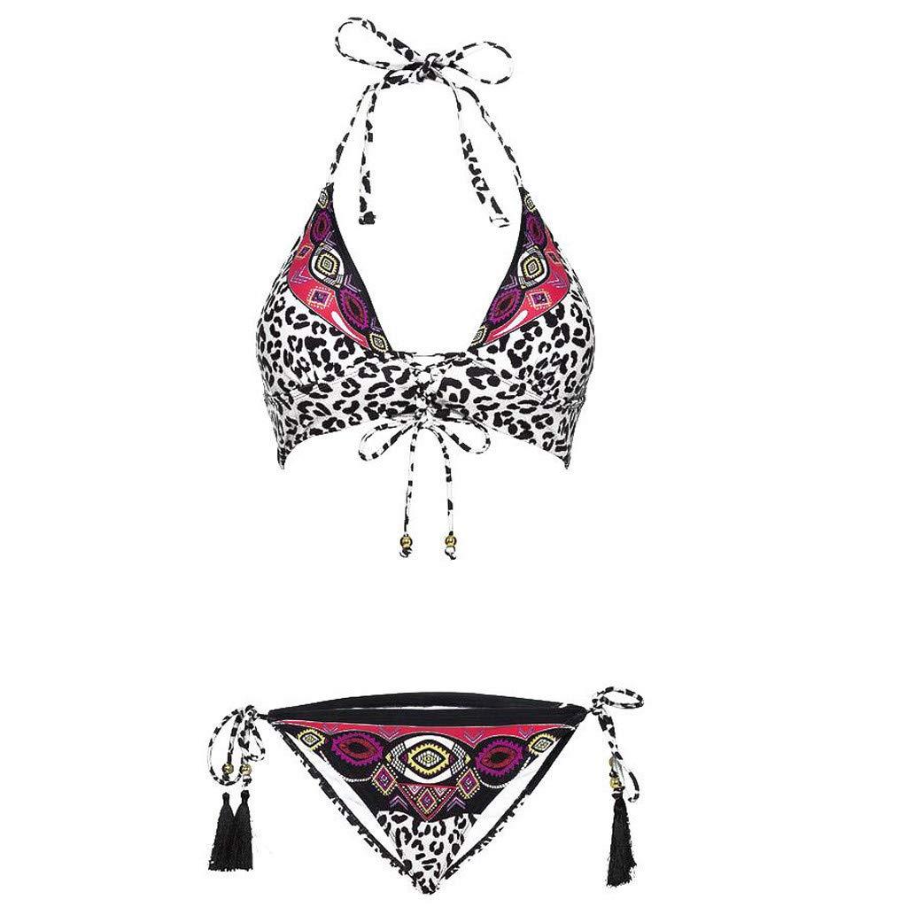 NINGNETI Conjunto De Bikini De Vendaje con Estampado De Leopardo para Mujer Traje De Ba/ñO Brasile/ñO Ropa De Playa Traje De Ba/ñO
