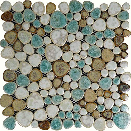 - Hominter 11-Sheets Glazed Ceramic Pebble Backsplash Wall Tiles, Bathroom Porcelain Floor Tile - Blue/Cream/Coffee PPT009