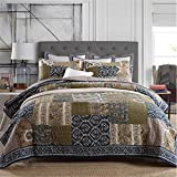 Jameswish 100%Cotton 3-piece Quilt Sets Provence and Italian Style Home Quilted Patchwork Coverlet Bedspread King Size 1Quilt 2Pillowcases