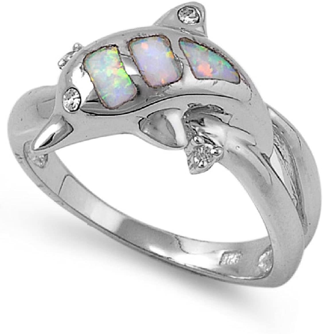 CloseoutWarehouse Dolphin White Simulated Opal Ring 925 Sterling Silver Size 5