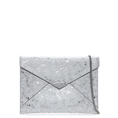 334ba8f4c25 Michael Kors Barbara Large White & Silver Metallic Floral Envelope Clutch  Bag White Leather