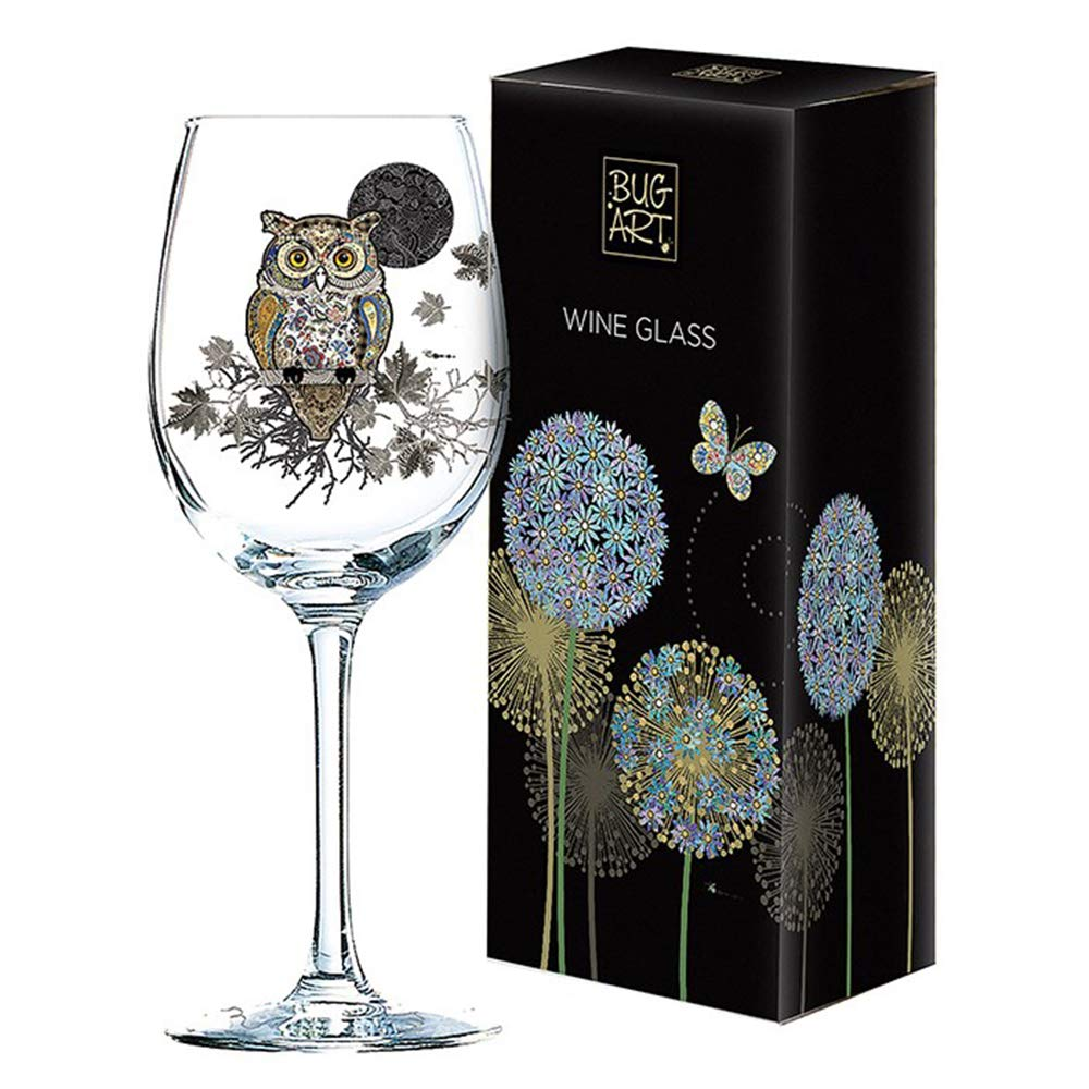 Beautiful Owl Gold Foil Art Design White Wine Glass Gift Boxed