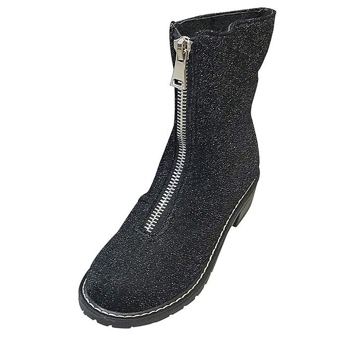 ❤ Botas de Lentejuelas para Mujer, Zapatos de tacón Cuadrado para Mujer de Invierno Botas Martain Lentejuelas con Cremallera Zapatos de Punta Redonda ...