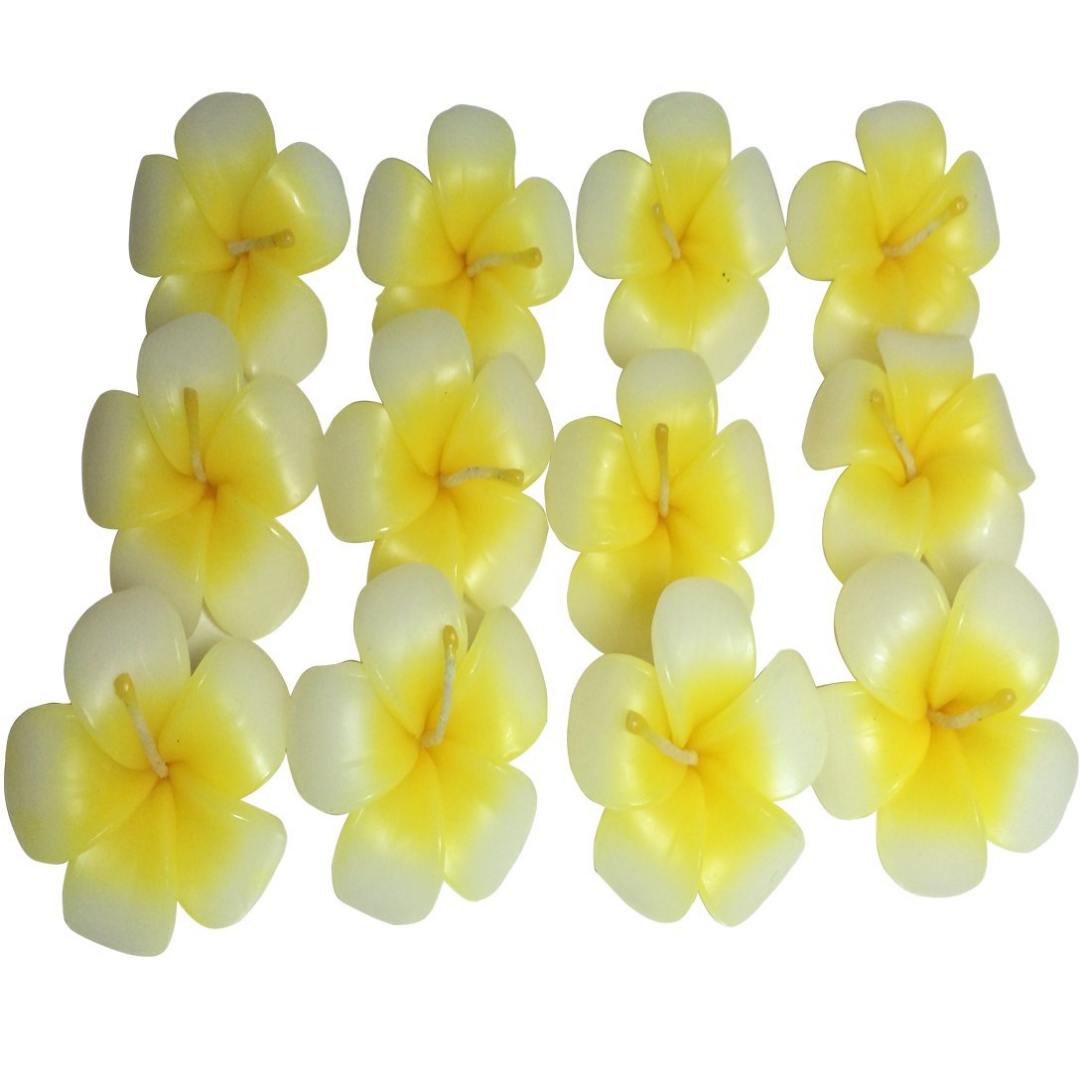 Scented Frangipany Asian Flower Floating Candles for Spa Pool(pack of 12),yellow