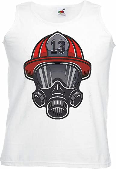 Camisa del músculo Tank Top América Bomberos Casco con Máscara de respiración de Fuego Bombero voluntario de la Empresa APT Bombero Profesional Insert Cabeza DE Bomberos DE Fuego Manga en Blanco: Amazon.es: