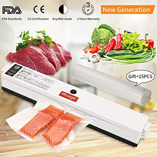 Automatic Vacuum Sealing Machine,Air Sealing System for Food with 15 Pics sealer Bag Roll Set Frash Food Saver Retractable Handheld Starter Kit