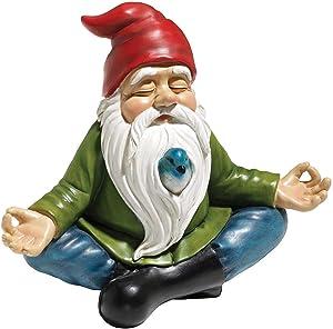 Garden Gnome Zen Gnome Statue Resin Full Color Zen Garden Gnome Statue Hand Painted Lawn Gnome Figurine for Outdoor or Home Decor (B)