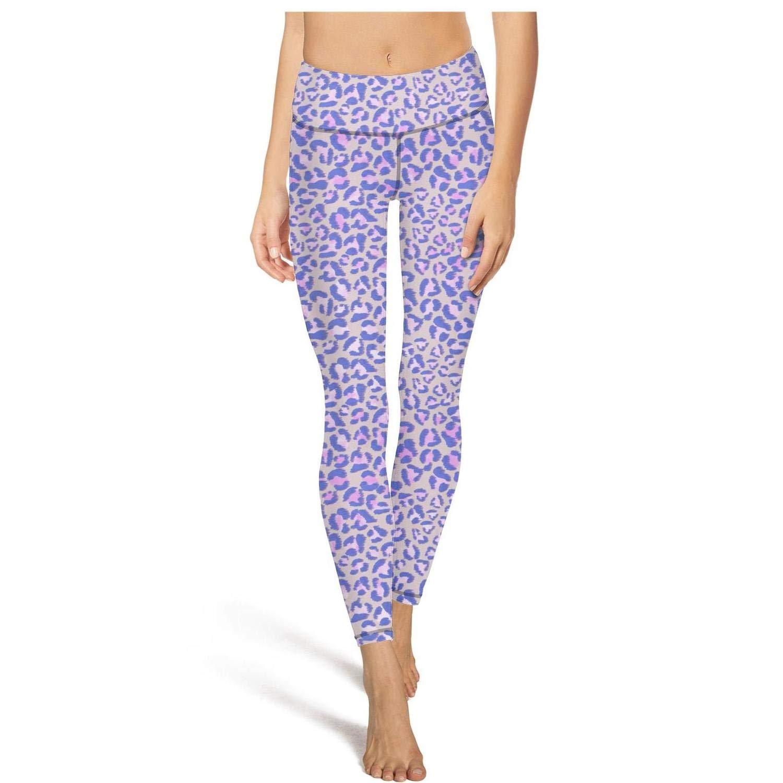 Womens Yoga Pants Purple Leopard Texture high Waist Yoga Leggings with Pockets