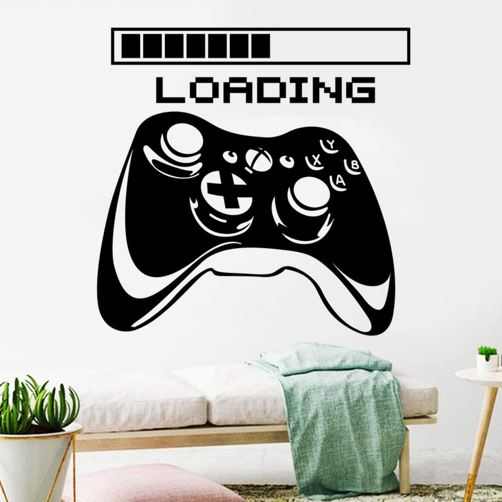 Gamer with Controller Wall Decals Gamer Wall Sticker Gaming Wall Decals Video Game Wall Stickers Removable DIY Game Wallpapers for Gamer Bedroom Playroom Decor