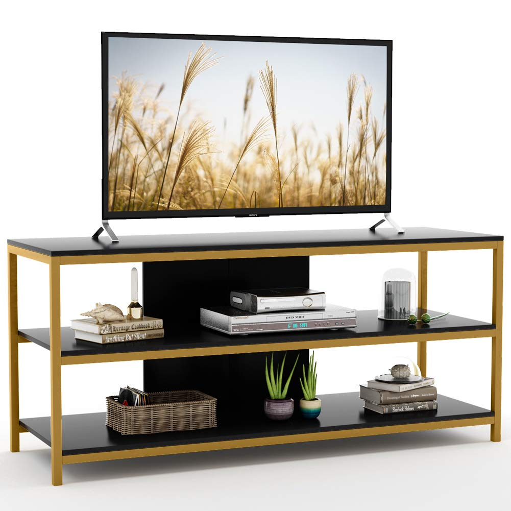 Tribesigns Modern TV Stand, 3-Tier Entertainment Center Media Stand TV Console Table with Storage Shelves for Living Room Bedroom (Black/Gold Frame) by Tribesigns