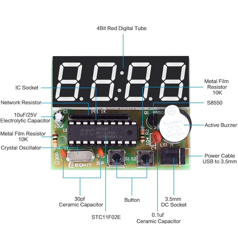 Whdts 4 Bits Digital Clock Kits With Pcb For Soldering Led Circuit Board This Kit Uses A Flashing Practice Learning Electronics English Instructions Toys Games