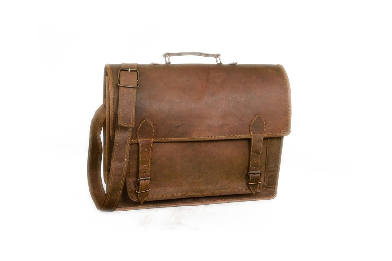 d239b587d Amazon.com: Vintage Leather Bazaar Real Goat Leather Messenger Laptop Bag  16 Inch Brown: Vintage Leather Bazaar