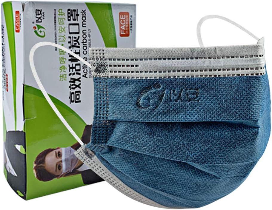 50Piezas Azul Adulto Protección personal 𝐌𝐚𝐬𝐜𝐚𝐫𝐢𝐥𝐥𝐚𝐬, Protección 4 Capas Transpirables A Prueba de Polvo con Elástico para Los Oídos