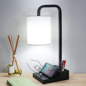 Iporovon Fully Dimmable Modern Nightstand Table Lamps, Designed with A Storage Box,Phone Support & 2 USB Charging Ports, 5000K Daylight White Edison Bulb Included, for Bedroom Living Room Office