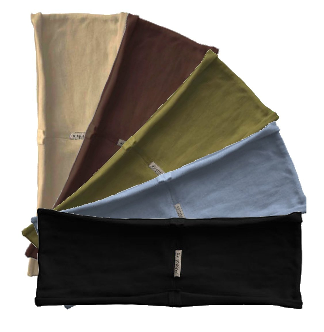 5-pack hBAND Earth stretchy yoga headbands (black, olive, gray, beige, brown) by Absolute Yogi