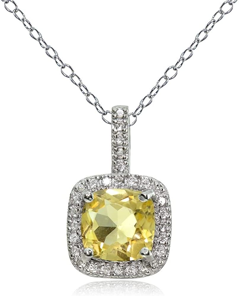 Glitzs Jewels Sterling Silver 1.85Ct Citrine /& White Topaz Cushion-Cut Necklace
