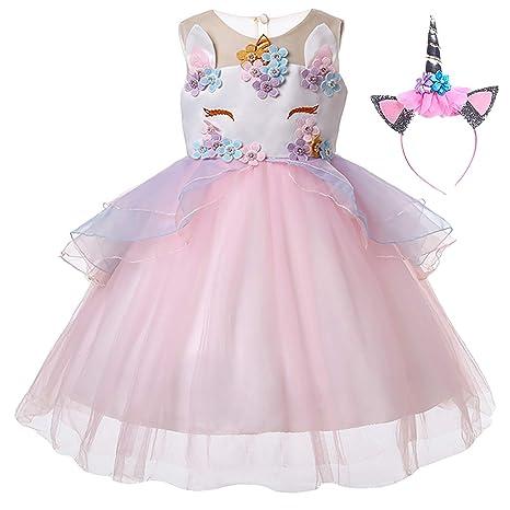 UrbanDesign Vestido de Princesa Unicornio para Niñas Cumpleaños, 3-4 Años, Rosa