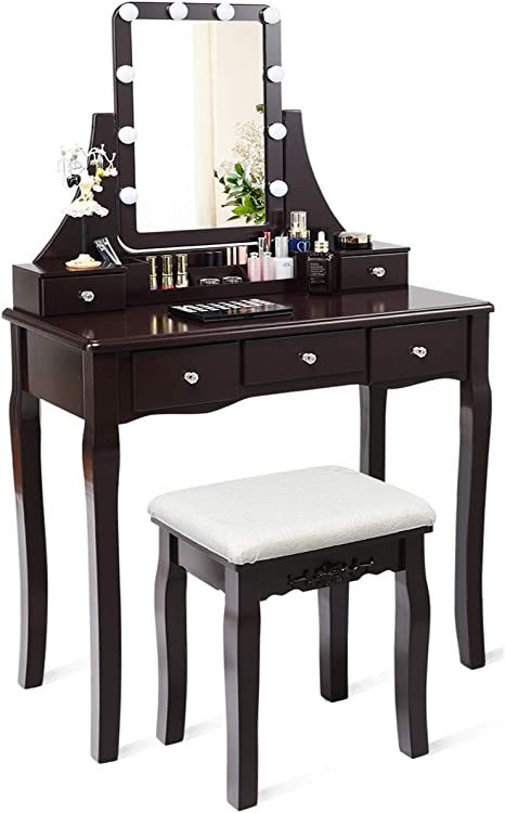 Charmaid Vanity Set With Lighted Mirror 10 Dimmable Light Bulbs Vanity Dressing Table 5 Drawer With 2 Dividers Removable Organizer Makeup Table And Cushioned Stool Set With 10 Led Bulbs Coffee Amazon Ca