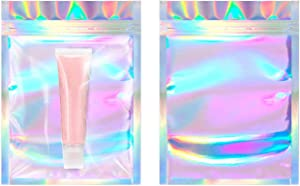 Resealable Smell Proof Bags x 100 (Clear HOLOGRAPHIC RAINBOW, 3.3 x 5.1 in / 8.5 x 13cm) Mylar Ziplock bag for Lip gloss, Eye Lash, Jewelry,Candy, Snacks, Food Storage Packaging by HallGEMs
