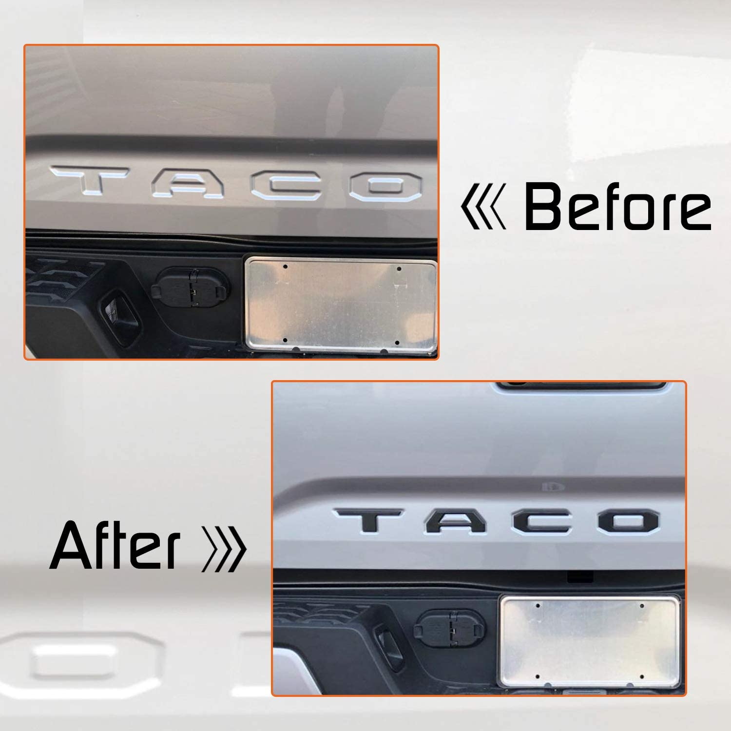 SEVENS Tailgate Letters Fit 2016 2017 2018 2019 2020 Toyota Tacoma Raised Metal Emblems Insert Letters Decals with Quality Adhesion
