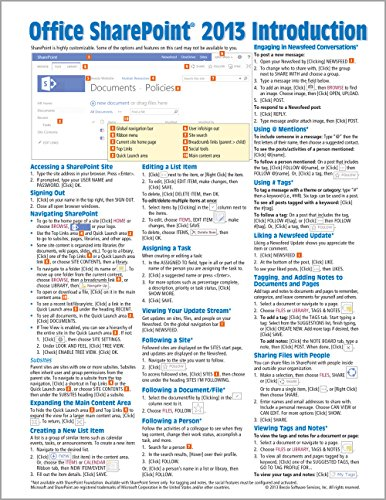 Microsoft SharePoint 2013 Quick Reference Guide: Introduction (Cheat Sheet of Instructions & Tips - Laminated Card)