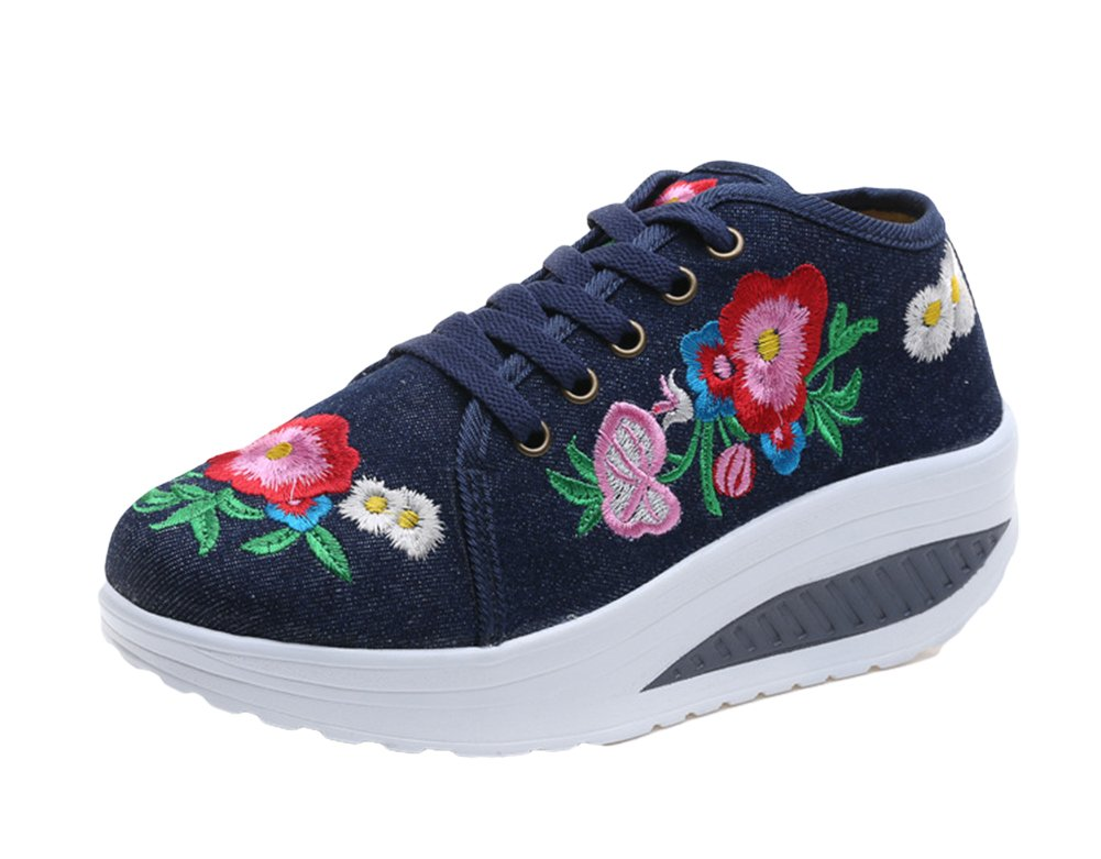 AvaCostume Womens Embroidery Lace up Platform Casual Sneaker Shoes, Blue 39
