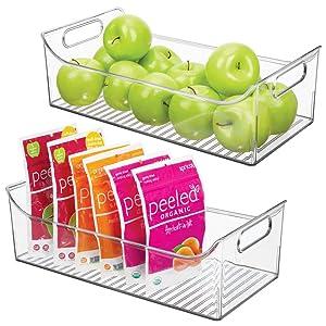 "mDesign Wide Plastic Kitchen Pantry Cabinet, Refrigerator or Freezer Food Storage Bin with Handles - Organizer for Fruit, Yogurt, Snacks, Pasta - BPA Free, 16"" Long, 2 Pack - Clear"
