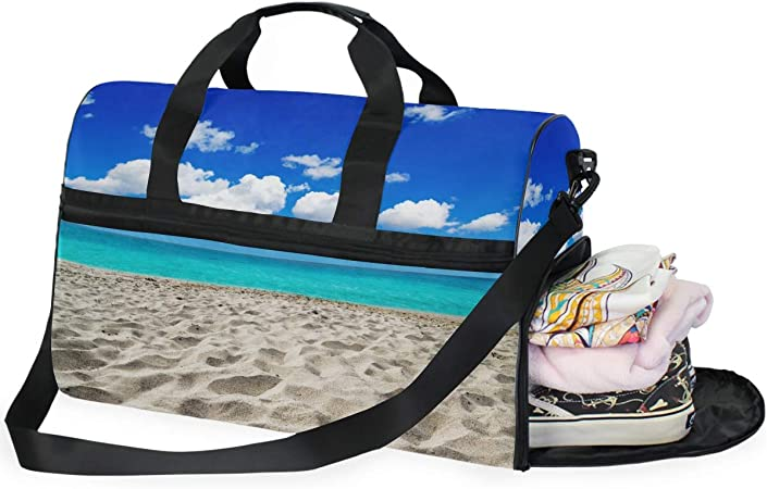 Gym Travel Duffel Bag Beach And Tropical Sea Waterproof Lightweight Luggage bag for Sports Vacation