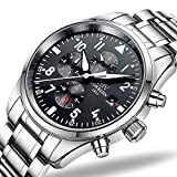 IBV Mens Pilot Military Watch Automatic Mechanical Days Mouths 24/Hours Function Dial Waterproof Watches