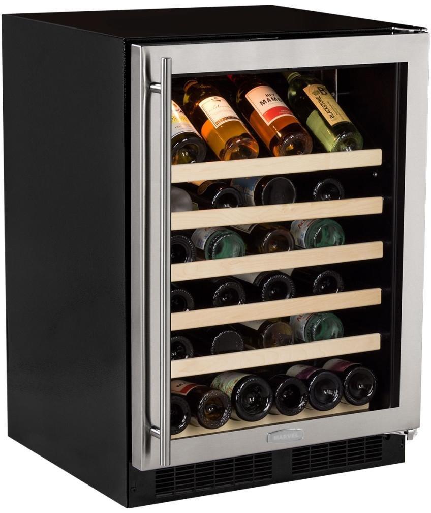 Marvel 24'' Wine Cellar, stainless steel frame glass door, right hinge by AGA Marvel