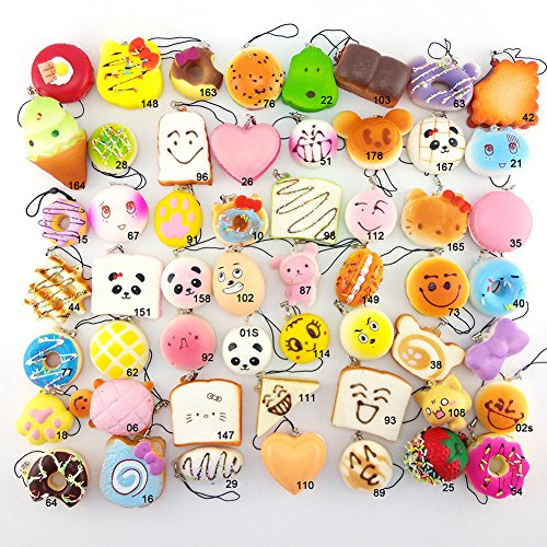 Lelly Q 10/20/30pcs Squishy Food Resin Kawaii Mini Toasts Donuts Bread Etc package Phone Key Chain Strap Charm Kids Toy Gift.(15pcs)