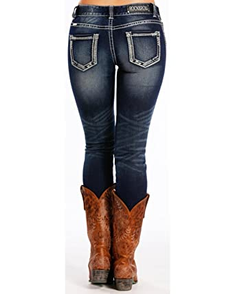 84823440 Rock & Roll Cowgirl Women's and Dark Blue Mid-Rise Skinny Jeans Blue 24W x