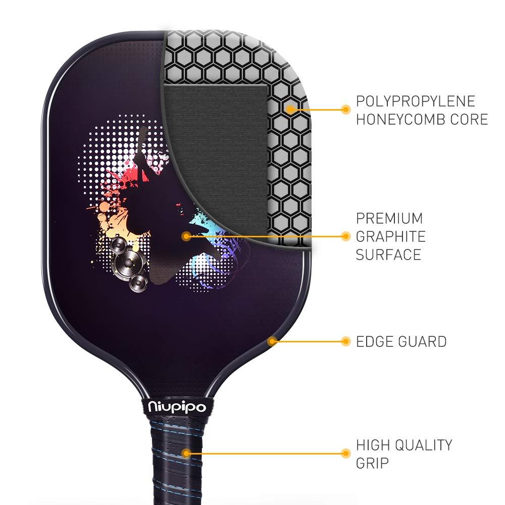 Pickleball Paddle, grafito Pickleball Rackets Set de 2 ...