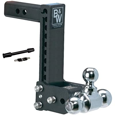 B&W Hitches TS10050B Tow and Stow 9-9.5in Adjustable Tri Ball Mount Receiver Hitch and 5/8in Chrome Receiver Hitch Lock Bundle: Automotive