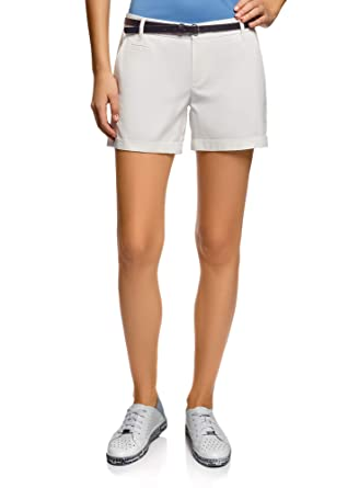 04246e7e75b oodji Ultra Femme Short en Coton avec Ceinture  Amazon.fr  Vêtements ...